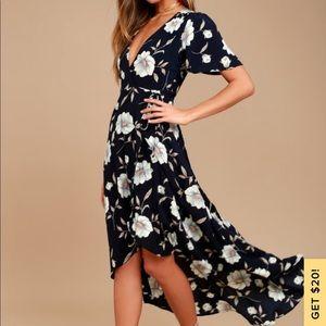 Lulus / Lake Como Floral Print High-Low Wrap Dress